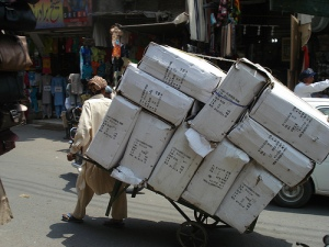 Man carries heavy load