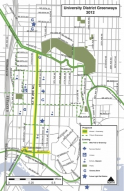 A map of a proposed University District Greenway
