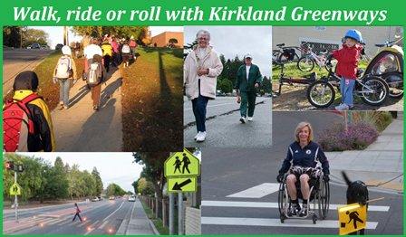 Photo collage of pedestrians, bikes, and wheelchairs.
